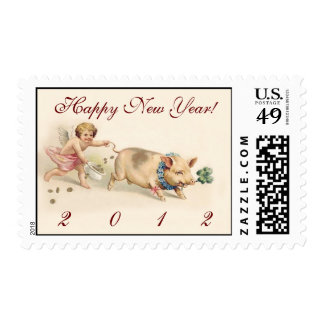 Angel and Pig - Cute Happy New Year 2012 Postage Stamp