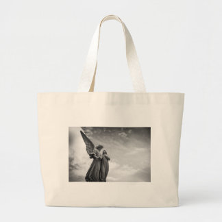 Angel and soul christian sculpture large tote bag