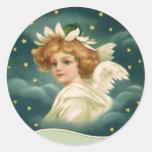 Ángel angelical del navidad del Victorian del Pegatinas Redondas