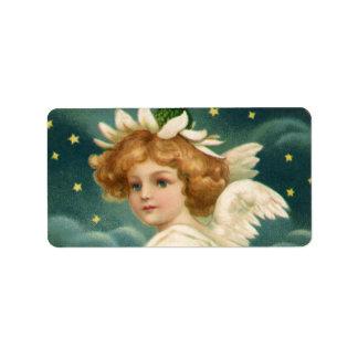 Ángel angelical del navidad del Victorian del vint Etiqueta De Dirección
