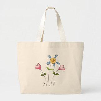 Angel Antics · Flower Hearts · Blue Tote Bag