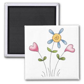 Angel Antics · Flower Hearts · Blue Refrigerator Magnets
