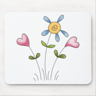 Angel Antics · Flower Hearts · Blue Mouse Pad