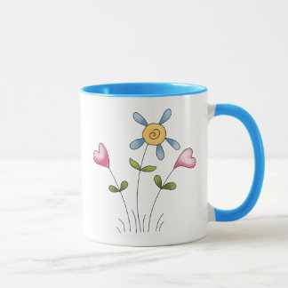 Angel Antics · Flower Hearts · Blue Mug