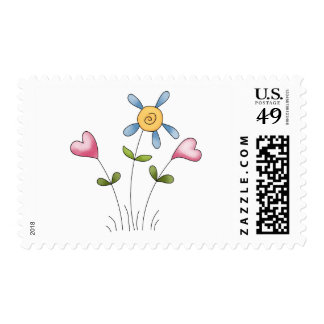 Angel Antics · Flower Hearts · Blue Postage