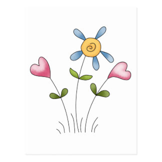 Angel Antics · Flower Hearts · Blue Postcard