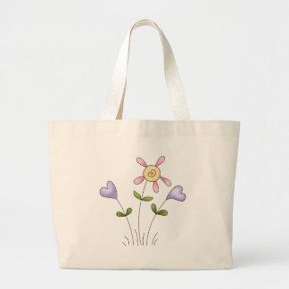 Angel Antics · Flower Hearts · Purple Tote Bags