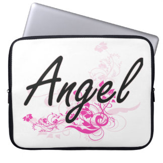 Angel Artistic Name Design with Flowers Laptop Sleeve