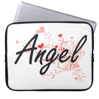 Angel Artistic Name Design with Hearts Laptop Computer Sleeve
