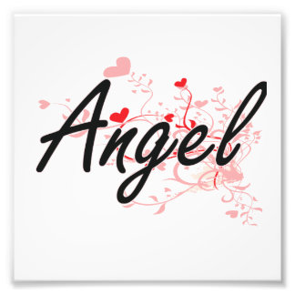 Angel Artistic Name Design with Hearts Photo Print