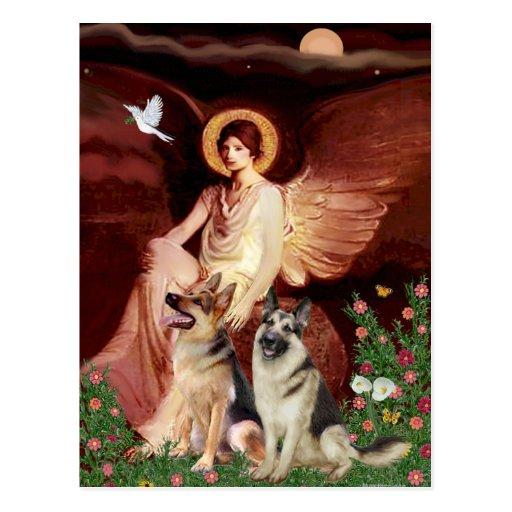 Ángel asentado - dos pastores alemanes tarjeta postal