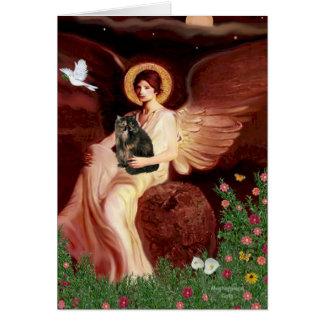Ángel asentado - gato de calicó persa felicitación