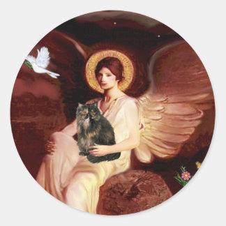 Ángel asentado - gato de calicó persa pegatina