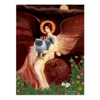 Ángel asentado - gato persa del humo azul postal