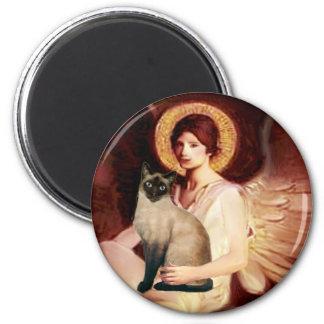 Ángel asentado - gato siamés del punto del sello imán redondo 5 cm