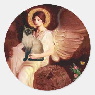 Ángel asentado - gato siamés del punto del sello pegatina redonda