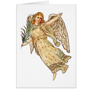Angel At Christmas With Palm Leaf Greeting Card