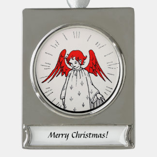 Angel at the Top of the Stairs Silver Plated Banner Ornament