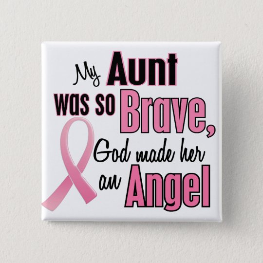 Angel AUNT Breast Cancer T-Shirts & Apparel Button