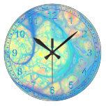 Ángel azul abstracto - azul cósmico y limón reloj