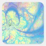 Ángel azul - azul cósmico y limón calcomania cuadradas