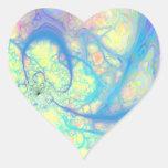 Ángel azul - azul cósmico y limón pegatina corazón
