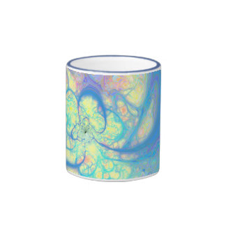 Ángel azul - azul cósmico y limón taza a dos colores