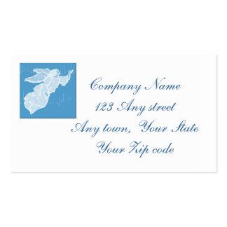 ángel azul con el fondo de la nota de forma tarjetas de negocios
