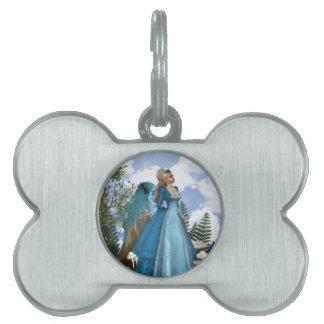 Ángel azul de cielo placas de nombre de mascota