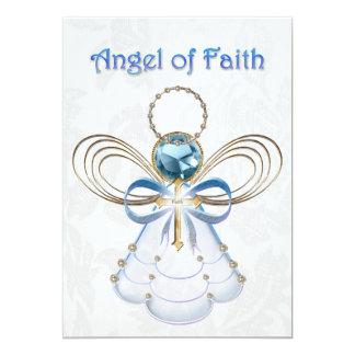 """Ángel azul del navidad de la fe invitación 5"""" x 7"""""""