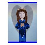 Ángel azul en rezo tarjeta