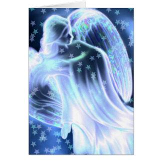 Ángel azul majestuoso con la tarjeta de