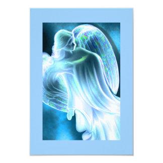 """Ángel azul que conforta la tarjeta del rezo invitación 3.5"""" x 5"""""""