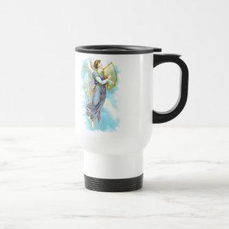 Ángel azul y arpa taza térmica