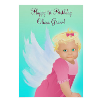 Angel Baby 1st Birthday Party Banner Poster