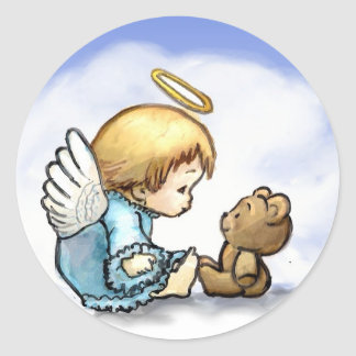 Angel baby and teddy bear classic round sticker