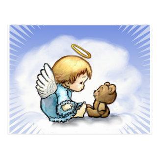 Angel baby and teddy bear postcard