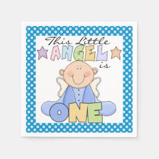 Angel Baby Boy 1st Birthday Paper Napkins