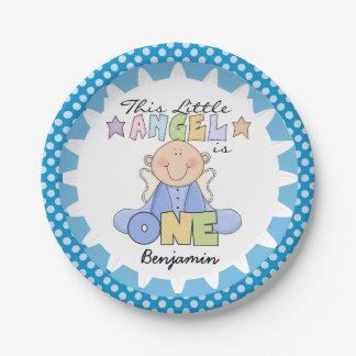 Angel Baby Boy 1st Birthday Paper Plates
