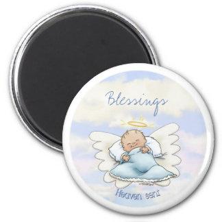 Angel baby boy 2 inch round magnet