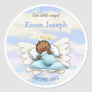 Angel baby boy - African American Classic Round Sticker
