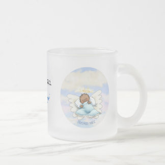 Angel baby boy - African American Frosted Glass Coffee Mug