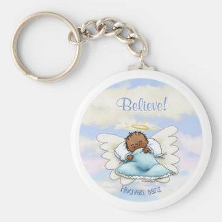 Angel baby boy - African American Keychain