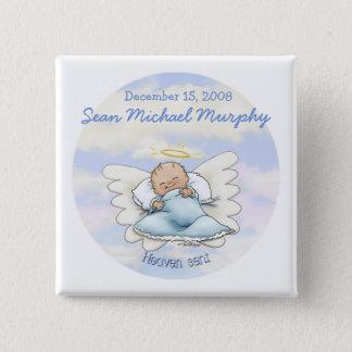 Angel baby boy button