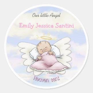 Angel baby boy classic round sticker