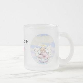 Angel baby boy frosted glass coffee mug