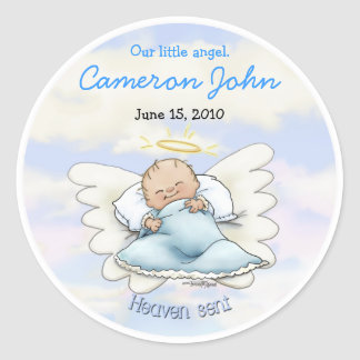 Angel Baby Boy - Heaven sent Classic Round Sticker