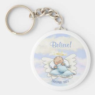 Angel baby boy keychain