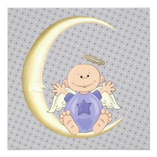 Angel Baby Boy Shower 5.25x5.25 Square Paper Invitation Card