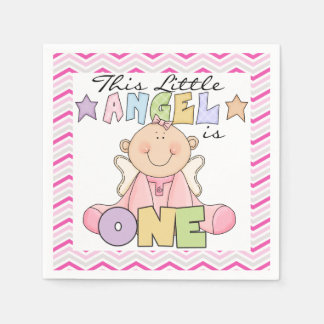 Angel Baby Girl 1st Birthday Paper Napkins